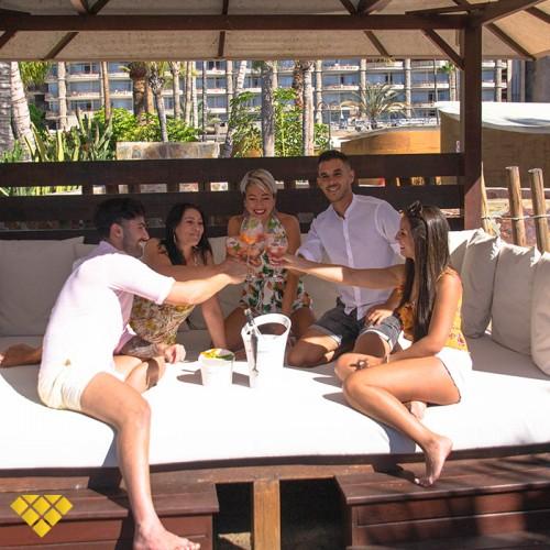 Maroa Balinese Bed + Bottle of Martini Royal